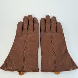 Brown Soft Leather Wool Lining Winter Gloves
